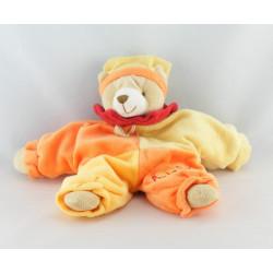 Doudou et compagnie lapin orange vert mouchoir baby nat