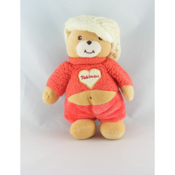 Doudou ours pull blanc coeur avec casquette orange TAKINOU
