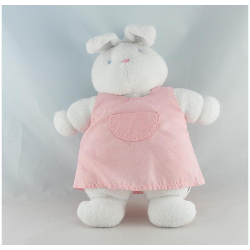 Doudou lapin blanc robe rose KLORANE lot de 2