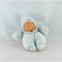 Doudou bébé poupée bleu col fleurs COROLLE 2001