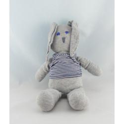 Doudou lapin gris pull rayé noir PETIT BATEAU