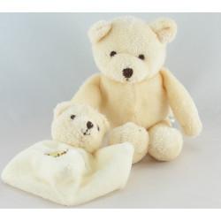 Doudou ours beige avec mini doudou plat NATURE BABY NAT