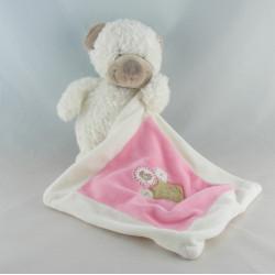 Doudou ours blanc avec doudou mouchoir rose NICOTOY