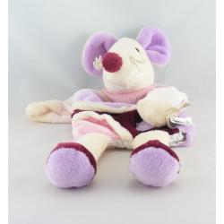 Doudou plat carré souris rose BABY NAT