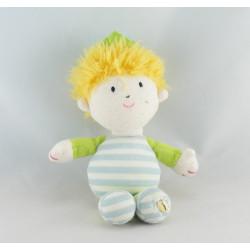 Doudou garçon blond prince roi bleu vert LUMINOU