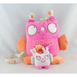 Doudou hibou chouette rose avec bébé DPAM