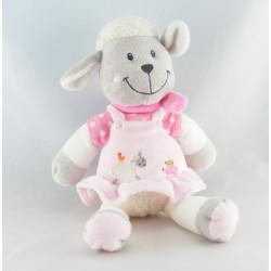 Doudou plat agneau mouton rose pois NICOTOY
