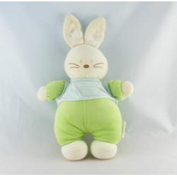 Doudou lapin vert rayé bleu BENGY