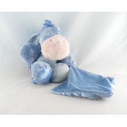 Doudou Bourriquet couverture vichy bleu satin Disney Nicotoy