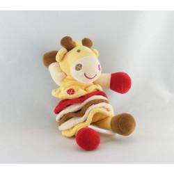 Doudou plat girafe jaune tache rouge marron NOUNOURS NEUF