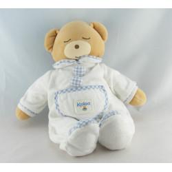 Doudou ours pyjama blanc vichy bleu KALOO