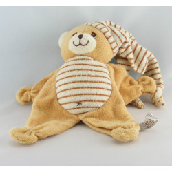 Doudou semi plat ours blanc marron ANNA CLUB PLUSH