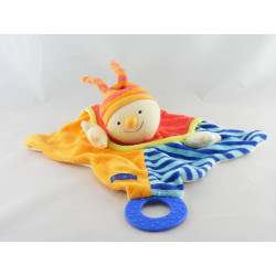 Doudou semi plat clown arlequin orange bleu BABYSUN