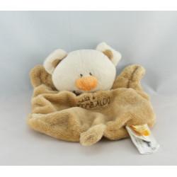 Doudou plat hochet lapin blanc beige KIMBALOO