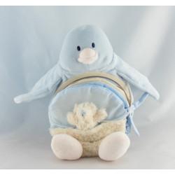 Doudou musical pingouin bleu blanc rose NATURE ET DECOUVERTE