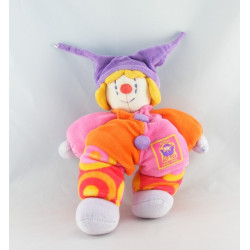 Doudou Gino le clown rose violet orange MOULIN ROTY