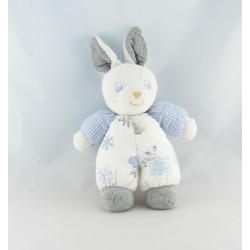 Doudou lapin blanc vichy bleu poule TARTINE ET CHOCOLAT