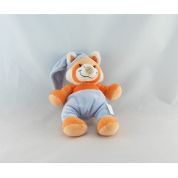 Doudou chat renard orange jaune bleu AUCHAN