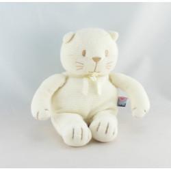 Doudou chat blanc noeud bleu SUCRE D'ORGE