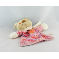 Doudou plat ours beige rayé rose coeur TIAMO COLLECTION