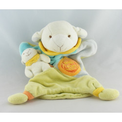 Doudou et compagnie plat marionnette mouton agneau vert bleu