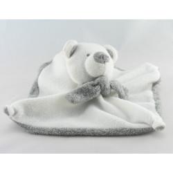 Doudou plat ours gris blanc