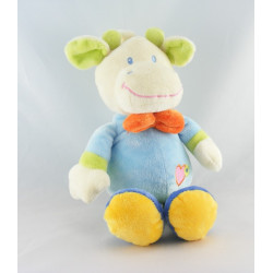 Doudou plat girafe vache bleu fleur coeur SIDJ