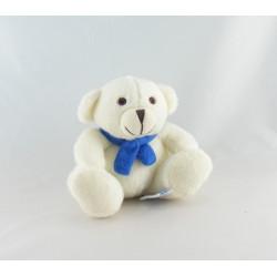 Doudou peluche ours blanc écru noeud TEMPS L UNICEF