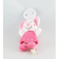 Doudou attache tétine Mimi la souris robe rose fleur NICOTOY KIABI