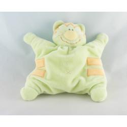 Doudou plat marionnette chat tigre vert avec  petit poisson KIABI