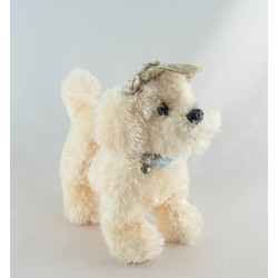 Doudou chien blanc beige pull rayé bleu EGMONT TOYS