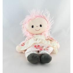 Ancienne poupée chiffon COROLLE blanc rose col fleur