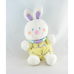 Doudou lapin blanc jaune abeille NICOTOY NEUF