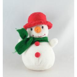 Doudou peluche bonhomme de neige blanc mauve