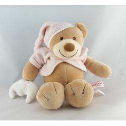 Doudou ours beige rose bonnet NATTOU