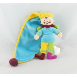 Doudou lutin arlequin bleu jaune long bonnet KATHERINE ROUMANOFF