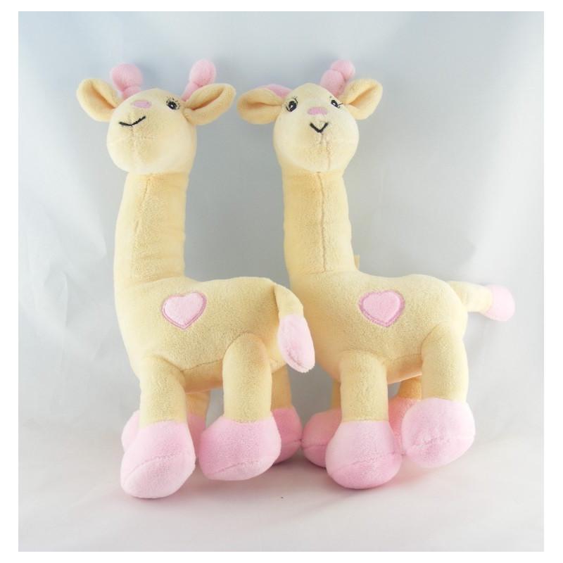 Doudou Girafe rose Arthur et Lola Lot de 2