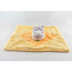Doudou plat hippopotame gris orange étiquettes INFLUX