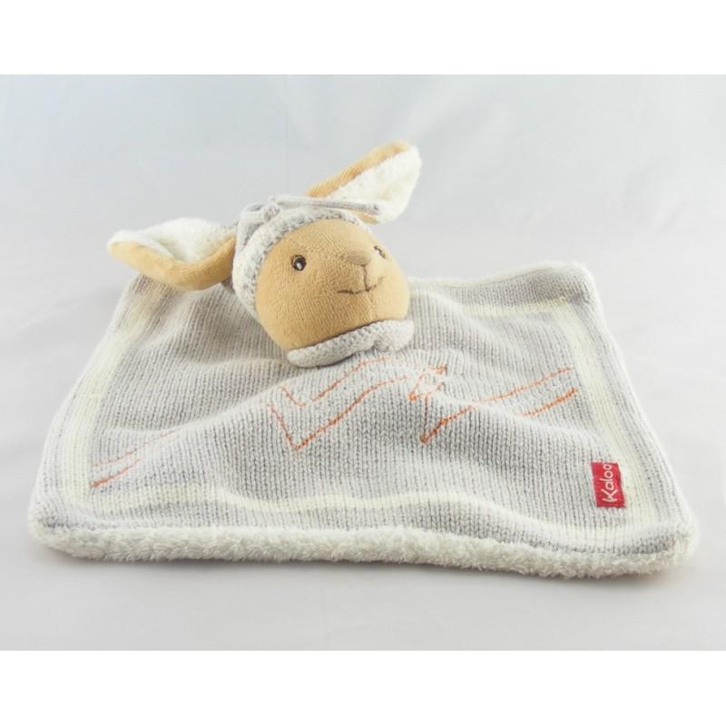 Doudou plat laine gris lapin avec bonnet KALOO
