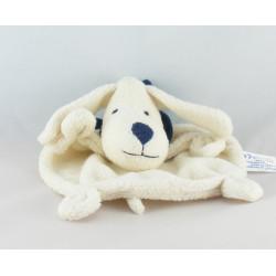 Doudou plat chien beige foulard bleu marine BABYSUN
