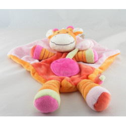 Doudou coussin rose girafe orange rouge NICOTOY