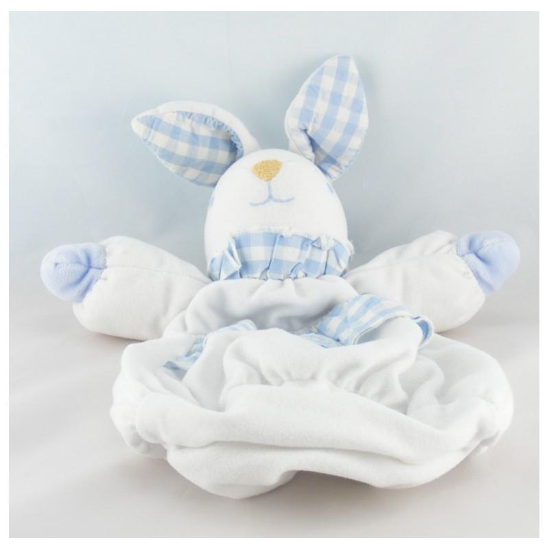 Doudou range pyjama lapin blanc vichy bleu TARTINE ET CHOCOLAT