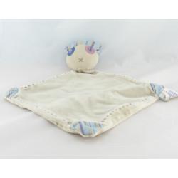 Doudou chat gris marron pull et bonnet rayés bleu OBAIBI OKAIDI