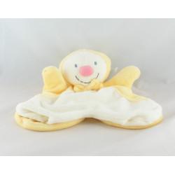Doudou plat marionnette bonhomme de neige clown vert blanc KIABI