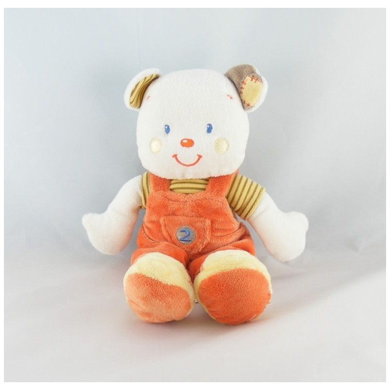 Doudou ours salopette orange Kitchoun KIABI
