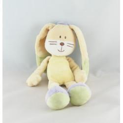 Doudou lapin jaune orange vert mauve Hello MOTS D'ENFANTS