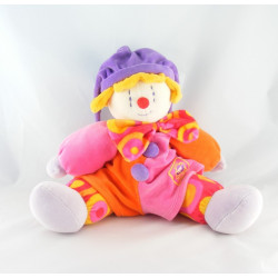 Doudou Gino le clown rose violet orange MOULIN ROTY
