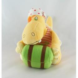 Doudou plat hippopotame Ernesto CARRE BLANC