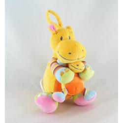 Doudou hippopotame orange jaune rayures NICOTOY