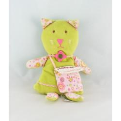 Doudou chat vert fleurs sac DMC